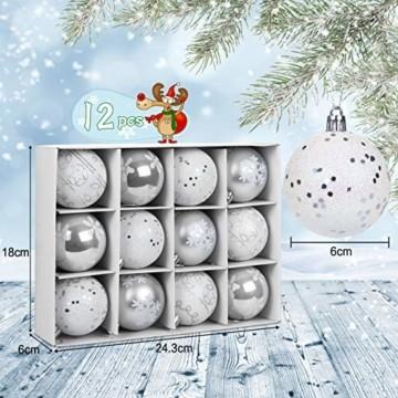 LIHAO 12er Set Weihnachtskugeln Christbaumkugeln Anhänger für Weihnachtsbaumschmuck Weihnachten Weihnachtsbaum Dekoration 6cm (Silber) - 3
