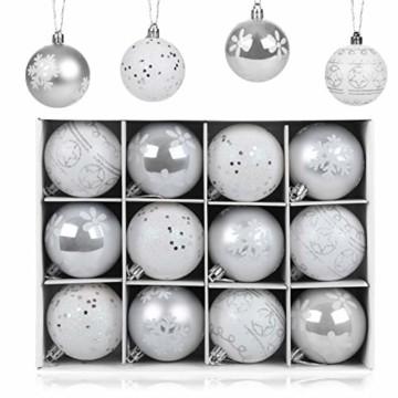 LIHAO 12er Set Weihnachtskugeln Christbaumkugeln Anhänger für Weihnachtsbaumschmuck Weihnachten Weihnachtsbaum Dekoration 6cm (Silber) - 1