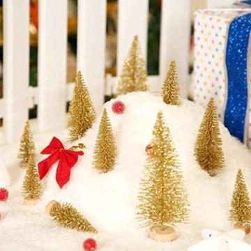 Limeow Weihnachtsbaum Künstlich Weihnachtsdeko Künstlicher Weihnachtsbaum Christbaum für Tischdeko Mini Weihnachtsbaum 10 Stück für Mini Weihnachts Baum Geschenk Tischdeko DIY Schaufenster(Golden) - 2