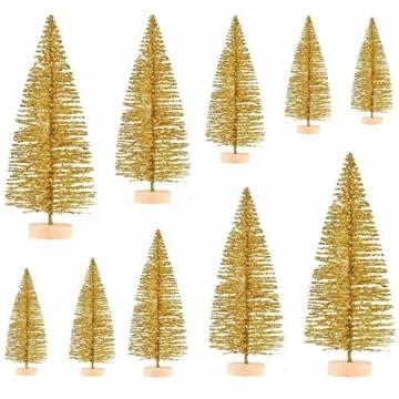 Limeow Weihnachtsbaum Künstlich Weihnachtsdeko Künstlicher Weihnachtsbaum Christbaum für Tischdeko Mini Weihnachtsbaum 10 Stück für Mini Weihnachts Baum Geschenk Tischdeko DIY Schaufenster(Golden) - 4