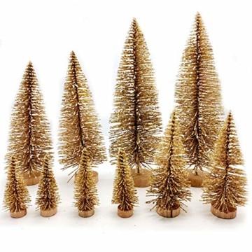 Limeow Weihnachtsbaum Künstlich Weihnachtsdeko Künstlicher Weihnachtsbaum Christbaum für Tischdeko Mini Weihnachtsbaum 10 Stück für Mini Weihnachts Baum Geschenk Tischdeko DIY Schaufenster(Golden) - 1
