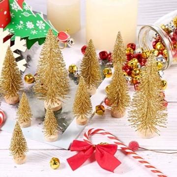 Limeow Weihnachtsbaum Künstlich Weihnachtsdeko Künstlicher Weihnachtsbaum Christbaum für Tischdeko Mini Weihnachtsbaum 10 Stück für Mini Weihnachts Baum Geschenk Tischdeko DIY Schaufenster(Golden) - 6