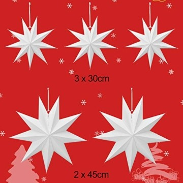 Linkbro 5 Stück Papierstern, Papiersterne Weihnachten, 9 Zacken, 30cm x 3 + 45cm x 2, für Weihnachts Dekoration, Fenster Dekoration, DIY Dekoration - 2