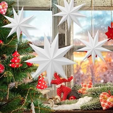 Linkbro 5 Stück Papierstern, Papiersterne Weihnachten, 9 Zacken, 30cm x 3 + 45cm x 2, für Weihnachts Dekoration, Fenster Dekoration, DIY Dekoration - 3