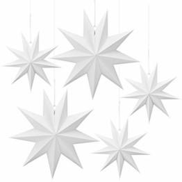Linkbro 5 Stück Papierstern, Papiersterne Weihnachten, 9 Zacken, 30cm x 3 + 45cm x 2, für Weihnachts Dekoration, Fenster Dekoration, DIY Dekoration - 1