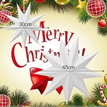 Linkbro 5 Stück Papierstern, Papiersterne Weihnachten, 9 Zacken, 30cm x 3 + 45cm x 2, für Weihnachts Dekoration, Fenster Dekoration, DIY Dekoration - 4