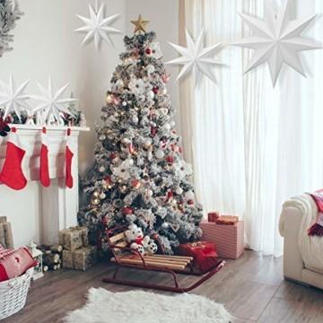 Linkbro 5 Stück Papierstern, Papiersterne Weihnachten, 9 Zacken, 30cm x 3 + 45cm x 2, für Weihnachts Dekoration, Fenster Dekoration, DIY Dekoration - 5