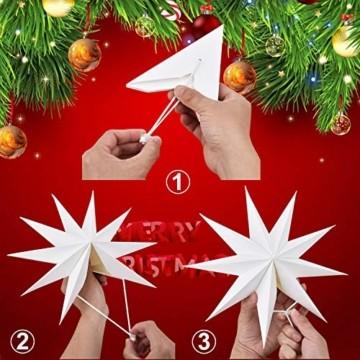 Linkbro 5 Stück Papierstern, Papiersterne Weihnachten, 9 Zacken, 30cm x 3 + 45cm x 2, für Weihnachts Dekoration, Fenster Dekoration, DIY Dekoration - 7