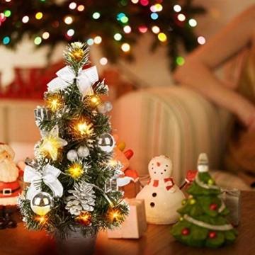 Lucoss Mini Weihnachtsbaum klein Künstlicher Tannenbaum Silber mit LED Beleuchtung, Baumschmuck Weihnachtskugeln Künstliche Weihnachtsbäume Weihnachts Desktop Dekoration 40CM - 2