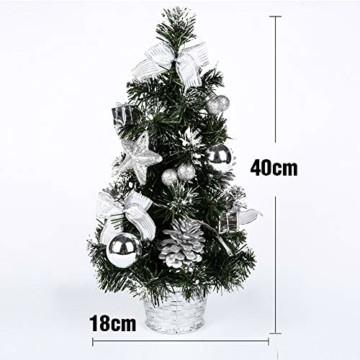 Lucoss Mini Weihnachtsbaum klein Künstlicher Tannenbaum Silber mit LED Beleuchtung, Baumschmuck Weihnachtskugeln Künstliche Weihnachtsbäume Weihnachts Desktop Dekoration 40CM - 3