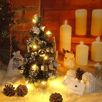 Lucoss Mini Weihnachtsbaum klein Künstlicher Tannenbaum Silber mit LED Beleuchtung, Baumschmuck Weihnachtskugeln Künstliche Weihnachtsbäume Weihnachts Desktop Dekoration 40CM - 4