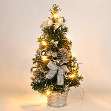 Lucoss Mini Weihnachtsbaum klein Künstlicher Tannenbaum Silber mit LED Beleuchtung, Baumschmuck Weihnachtskugeln Künstliche Weihnachtsbäume Weihnachts Desktop Dekoration 40CM - 1