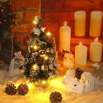 Lucoss Mini Weihnachtsbaum klein Künstlicher Tannenbaum Silber mit LED Beleuchtung, Baumschmuck Weihnachtskugeln Künstliche Weihnachtsbäume Weihnachts Desktop Dekoration 40CM - 5