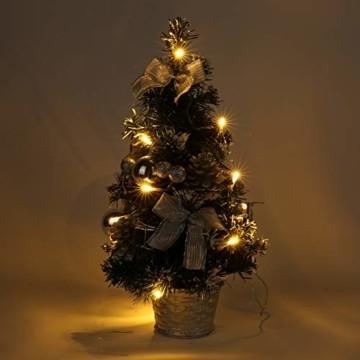 Lucoss Mini Weihnachtsbaum klein Künstlicher Tannenbaum Silber mit LED Beleuchtung, Baumschmuck Weihnachtskugeln Künstliche Weihnachtsbäume Weihnachts Desktop Dekoration 40CM - 6