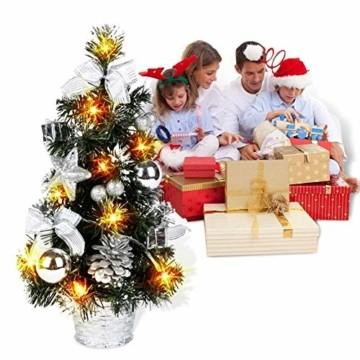 Lucoss Mini Weihnachtsbaum klein Künstlicher Tannenbaum Silber mit LED Beleuchtung, Baumschmuck Weihnachtskugeln Künstliche Weihnachtsbäume Weihnachts Desktop Dekoration 40CM - 7
