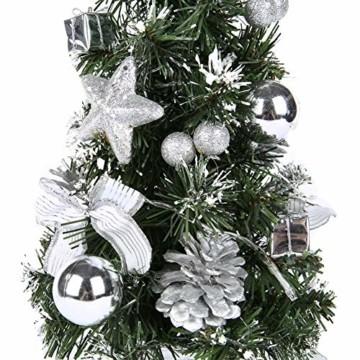 Lucoss Mini Weihnachtsbaum klein Künstlicher Tannenbaum Silber mit LED Beleuchtung, Baumschmuck Weihnachtskugeln Künstliche Weihnachtsbäume Weihnachts Desktop Dekoration 40CM - 8