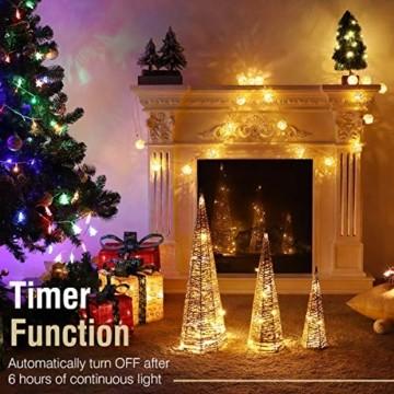 Luxspire LED Pyramide Kegelform Lichte, 3 Stück Advent Deko Leuchte Kleine Pailletten Eisendraht Laterne mit Timer Weihnachtslicht für Hause Weihnachten Dekoration Innen Außen Beleuchtung, Gold - 3