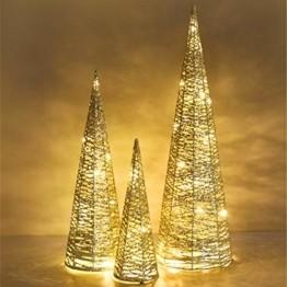 Luxspire LED Pyramide Kegelform Lichte, 3 Stück Advent Deko Leuchte Kleine Pailletten Eisendraht Laterne mit Timer Weihnachtslicht für Hause Weihnachten Dekoration Innen Außen Beleuchtung, Gold - 1