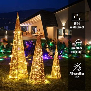 Luxspire LED Pyramide Kegelform Lichte, 3 Stück Advent Deko Leuchte Kleine Pailletten Eisendraht Laterne mit Timer Weihnachtslicht für Hause Weihnachten Dekoration Innen Außen Beleuchtung, Gold - 4