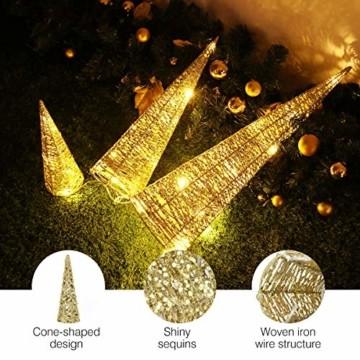 Luxspire LED Pyramide Kegelform Lichte, 3 Stück Advent Deko Leuchte Kleine Pailletten Eisendraht Laterne mit Timer Weihnachtslicht für Hause Weihnachten Dekoration Innen Außen Beleuchtung, Gold - 5