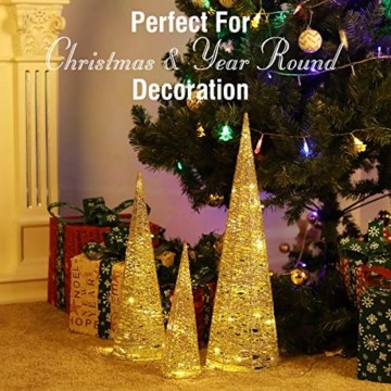 Luxspire LED Pyramide Kegelform Lichte, 3 Stück Advent Deko Leuchte Kleine Pailletten Eisendraht Laterne mit Timer Weihnachtslicht für Hause Weihnachten Dekoration Innen Außen Beleuchtung, Gold - 6