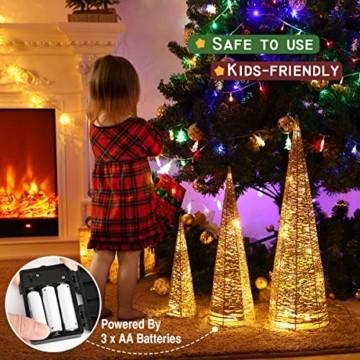 Luxspire LED Pyramide Kegelform Lichte, 3 Stück Advent Deko Leuchte Kleine Pailletten Eisendraht Laterne mit Timer Weihnachtslicht für Hause Weihnachten Dekoration Innen Außen Beleuchtung, Gold - 7