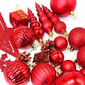 LYLYFAN Weihnachtskugeln 60 Stück Weihnachtsbaumschmuck Baumkugeln Set Rot Christbaumkugeln - 2