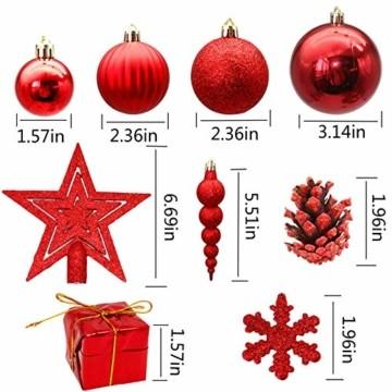 LYLYFAN Weihnachtskugeln 60 Stück Weihnachtsbaumschmuck Baumkugeln Set Rot Christbaumkugeln - 3