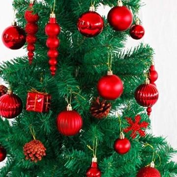 LYLYFAN Weihnachtskugeln 60 Stück Weihnachtsbaumschmuck Baumkugeln Set Rot Christbaumkugeln - 4