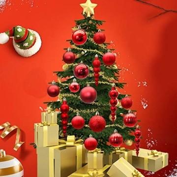 LYLYFAN Weihnachtskugeln 60 Stück Weihnachtsbaumschmuck Baumkugeln Set Rot Christbaumkugeln - 5