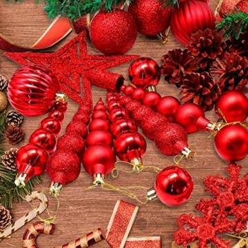 LYLYFAN Weihnachtskugeln 60 Stück Weihnachtsbaumschmuck Baumkugeln Set Rot Christbaumkugeln - 6