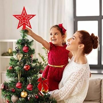 LYLYFAN Weihnachtskugeln 60 Stück Weihnachtsbaumschmuck Baumkugeln Set Rot Christbaumkugeln - 7