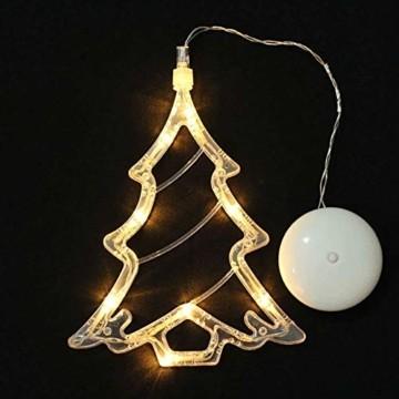 MAGICVOGEL 5er Set LED Weihnachtsbeleuchtung hängende Fensterlicht Batteriebetrieb beleuchtet Fensterbild,Stern Glocken Renntier Weihnachtsbaum Engel LED Fenstersilhouette - 3