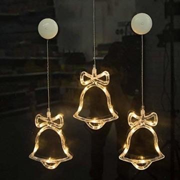 MAGICVOGEL 5er Set LED Weihnachtsbeleuchtung hängende Fensterlicht Batteriebetrieb beleuchtet Fensterbild,Stern Glocken Renntier Weihnachtsbaum Engel LED Fenstersilhouette - 4