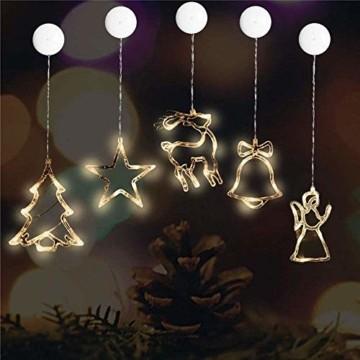 MAGICVOGEL 5er Set LED Weihnachtsbeleuchtung hängende Fensterlicht Batteriebetrieb beleuchtet Fensterbild,Stern Glocken Renntier Weihnachtsbaum Engel LED Fenstersilhouette - 1
