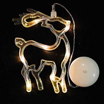 MAGICVOGEL 5er Set LED Weihnachtsbeleuchtung hängende Fensterlicht Batteriebetrieb beleuchtet Fensterbild,Stern Glocken Renntier Weihnachtsbaum Engel LED Fenstersilhouette - 5