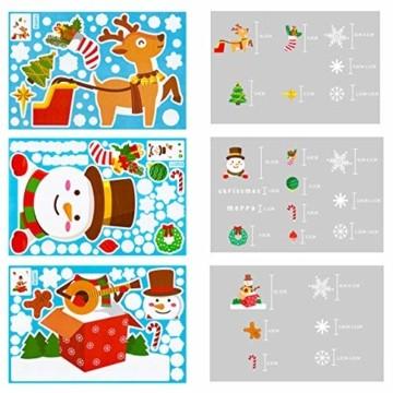 makstore 300 STK. Weihnachten Fenster Deko Aufkleber, Merry Christmas Weihnachtsmann Schneemann Schneeflocke Fenster Film Stickers 8 Blätter - 2