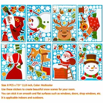 makstore 300 STK. Weihnachten Fenster Deko Aufkleber, Merry Christmas Weihnachtsmann Schneemann Schneeflocke Fenster Film Stickers 8 Blätter - 3