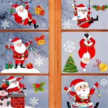 makstore 300 STK. Weihnachten Fenster Deko Aufkleber, Merry Christmas Weihnachtsmann Schneemann Schneeflocke Fenster Film Stickers 8 Blätter - 4