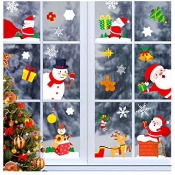 makstore 300 STK. Weihnachten Fenster Deko Aufkleber, Merry Christmas Weihnachtsmann Schneemann Schneeflocke Fenster Film Stickers 8 Blätter - 1