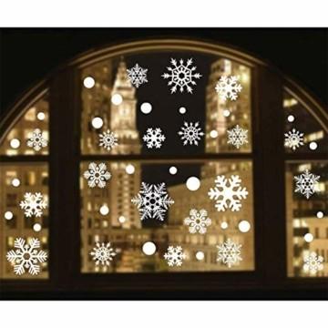 makstore 300 STK. Weihnachten Fenster Deko Aufkleber, Merry Christmas Weihnachtsmann Schneemann Schneeflocke Fenster Film Stickers 8 Blätter - 5