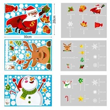 makstore 300 STK. Weihnachten Fenster Deko Aufkleber, Merry Christmas Weihnachtsmann Schneemann Schneeflocke Fenster Film Stickers 8 Blätter - 6