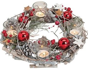 matches21 Adventskranz aus Holz rund 29x8 cm mit Gläsern als Teelichthalter & weihnachtlicher Dekoration in rot - 1