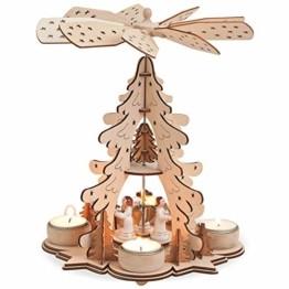 matches21 Weihnachtspyramide 1-stöckig Tannenbaum & Engel für Teelichter Holz Tischdeko Adventspyramide 1 STK 22x27 cm - 1