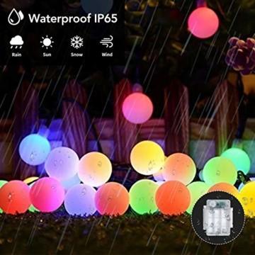 Maxsure Led Kugel Lichterkette 10M 100LED, USB/Batterien Globe Lichterkette mit Fernbedienung, Warmweiß/Bunt, Timer Funktion, Wasserdicht, 12 Modi String Lights für Weihnachtsdeko, Halloween, Partys - 4