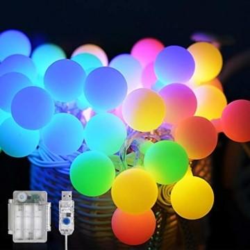 Maxsure Led Kugel Lichterkette 10M 100LED, USB/Batterien Globe Lichterkette mit Fernbedienung, Warmweiß/Bunt, Timer Funktion, Wasserdicht, 12 Modi String Lights für Weihnachtsdeko, Halloween, Partys - 1