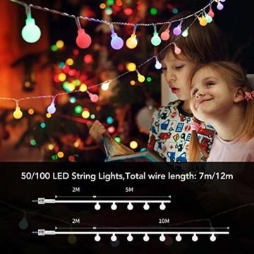 Maxsure Led Kugel Lichterkette 10M 100LED, USB/Batterien Globe Lichterkette mit Fernbedienung, Warmweiß/Bunt, Timer Funktion, Wasserdicht, 12 Modi String Lights für Weihnachtsdeko, Halloween, Partys - 5