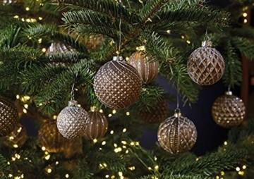 MC 12er Set edle Luxus Glas Weihnachtskugeln Ø 6cm Weihnachtsbaum Kugeln Christbaumkugeln Weihnachts Deko (Braun Silber) - 2