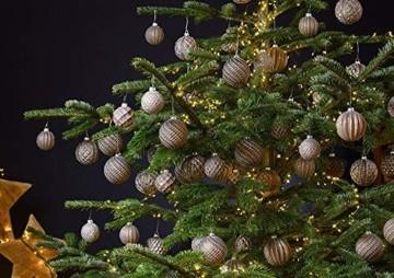 MC 12er Set edle Luxus Glas Weihnachtskugeln Ø 8cm Weihnachtsbaum Kugeln Christbaumkugeln Weihnachts Deko (Braun Silber) - 2