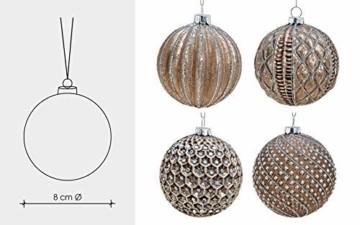 MC 12er Set edle Luxus Glas Weihnachtskugeln Ø 8cm Weihnachtsbaum Kugeln Christbaumkugeln Weihnachts Deko (Braun Silber) - 3